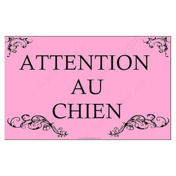 Baroque Princesse Rose, Plaque Portail Attention au Chien, pancarte, affiche panneau