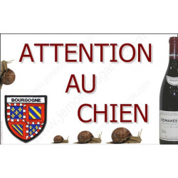 Plaque 20 cm OBI, Attention au Chien, Bourgogne Grand Cru