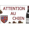 "Plaque ""Attention au Chien"" Bourgogne Grand Cru 20 cm OBI"