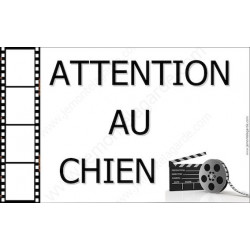 """Plaque """"Attention au Chien"""" Cinéma 20 cm OBI"""