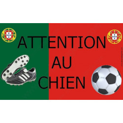 "Plaque ""Attention au Chien"" Football Portugal 20 cm OBI"