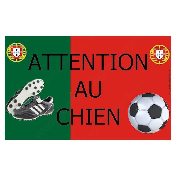 Football Portugal, Plaque Portail Attention au Chien, pancarte, affiche panneau