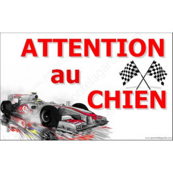 "Plaque ""Attention au Chien"" Formule 1 Automobile 20 cm OBI"