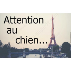 "Plaque ""Attention au Chien"" Paris 20 cm OBI"