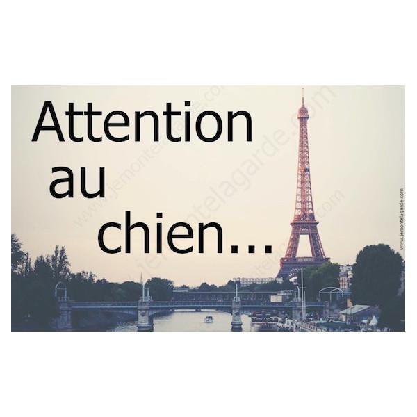 Paris France, Plaque Portail Attention au Chien, pancarte, affiche panneau