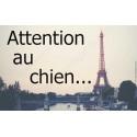 """Plaque """"Attention au Chien"""" Paris 20 cm OBI"""