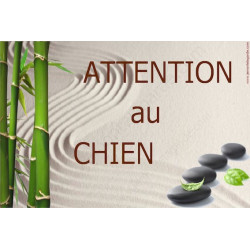 Plaque 24 cm OBI, Attention au Chien, Jardin Zen