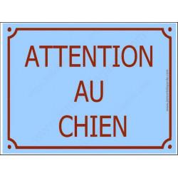 """Plaque Tue Portail """"Attention au Chien"""" Bleu Ciel Azur 3 tailles A"""