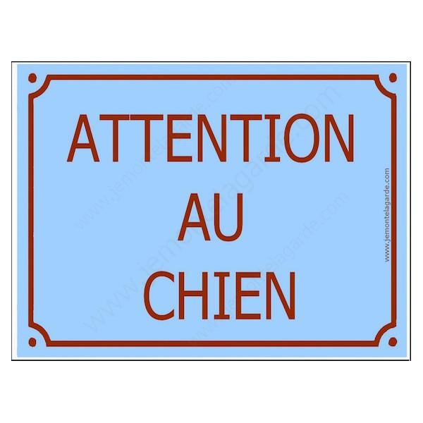 Attention au Chien, Plaque de Rue Bleu Ciel Clair panneau affiche pancarte portail