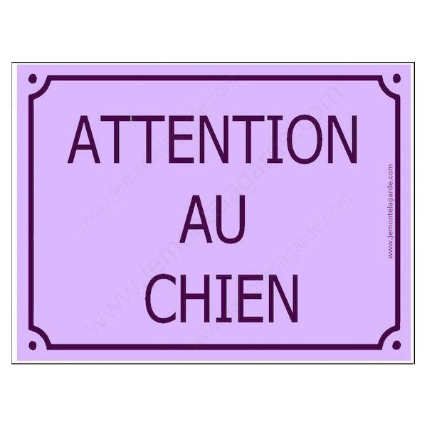 Attention au Chien, Plaque de Rue Mauve Lavande panneau affiche pancarte portail