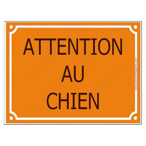 Attention au Chien, Plaque de Rue Jaune Orange panneau affiche pancarte portail