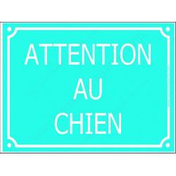 Plaque Portail 4 tailles CLR Attention au Chien Rue Turquoise