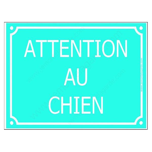 Attention au Chien, Plaque de Rue Turquoise panneau affiche pancarte portail