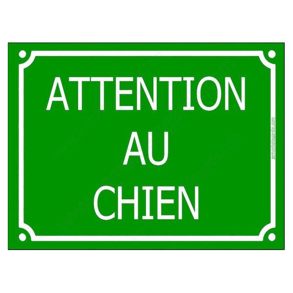 """""""Attention au Chien"""" Plaque de Rue Vert Gazon panneau affiche pancarte portail"""