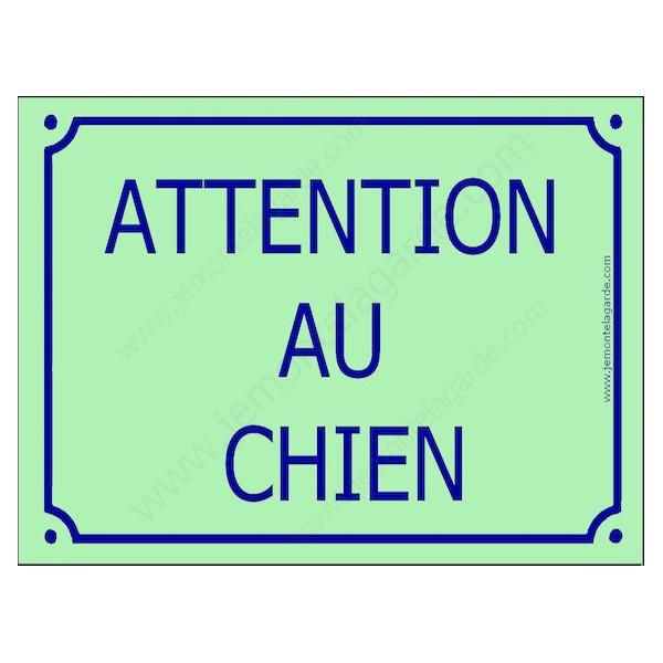 Attention au Chien, Plaque de Rue Vert Clair panneau affiche pancarte portail