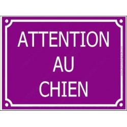 """Plaque rue portail """"Attention au Chien"""" Violet Prune 4 tailles CLR C"""