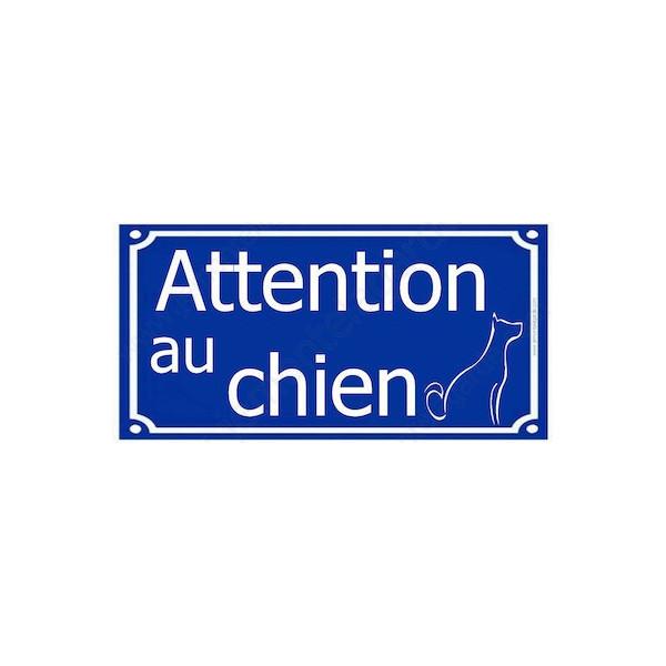 Attention au Chien, Plaque de Rue Bleu Marine foncé panneau affiche pancarte portail