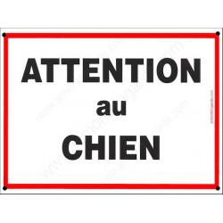 """Plaque Portail """"Attention au Chien"""" Liseré Rouge 5 tailles ECO"""