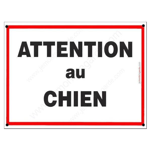Attention au Chien, Plaque de Portail, panneau affiche pancarte Liseré Rouge