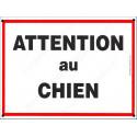 """Plaque Portail """"Attention au Chien"""" Liseré Rouge 4 tailles ECO C"""