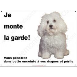 Bichon Bolonais, Plaque Portail Horizontale Je monte la garde, panneau pancarte, affiche risques et périls bolognais