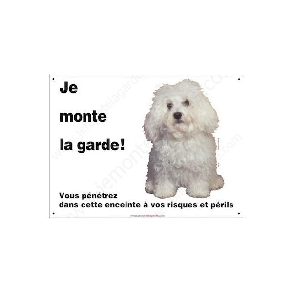 """Bichon Bolonais, Plaque Portail Horizontale """"Je monte la garde, risques et périls"""" panneau pancarte photo bolognais affiche"""