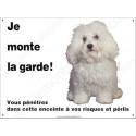 Plaque 26,5 cm ECO Je Monte la Garde, Bichon Bolonais