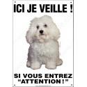 Plaque 26,5 cm ECO Ici je Veille, Bichon Bolonais