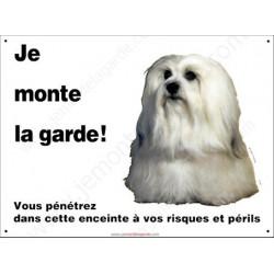 Plaque 26,5 cm ECO Je Monte la Garde, Bichon Havanais