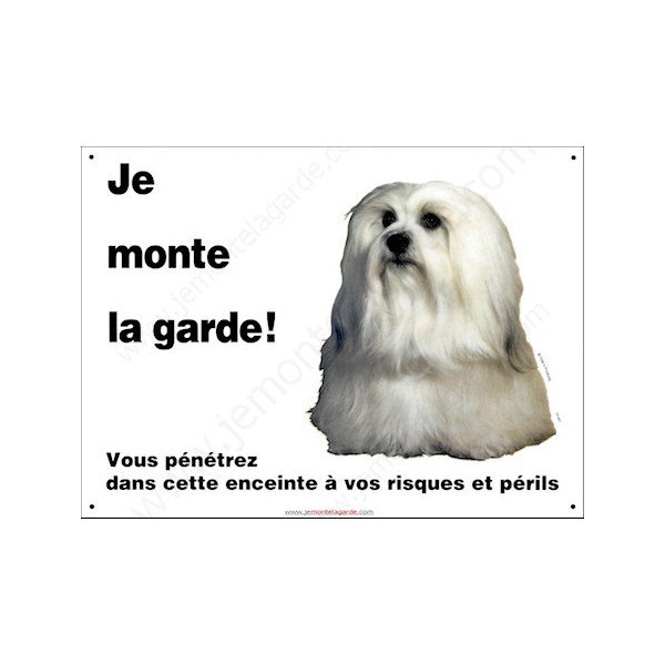 """Bichon Havanais, pancarte portail """"Je Monte la Garde, risques et périls"""" panneau photo, plaque entrée attention au chien"""